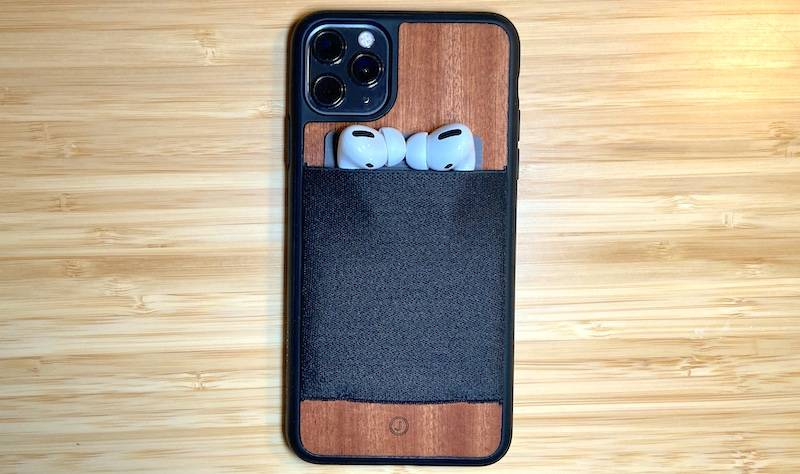 JIMMYCASE iPhone 11 Pro Max Wallet Case holding Apple Airpods