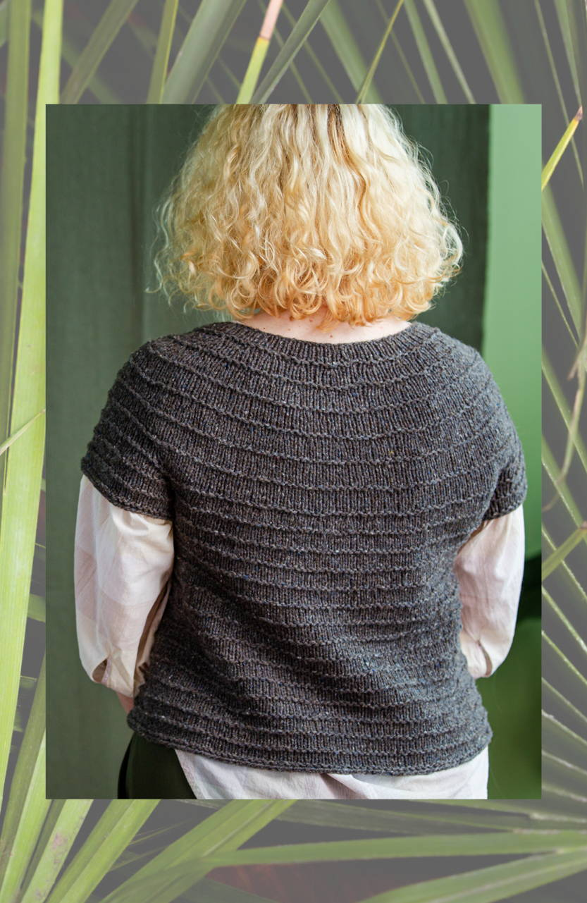 Emily modeling Synthe back view