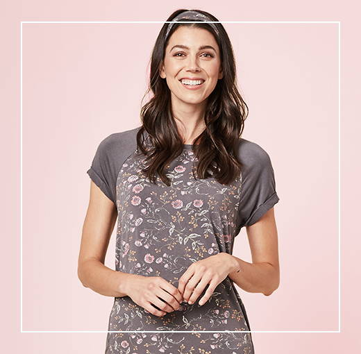 This is J T-shirt bamboo pajama set, Emmy Flower charcoal grey.