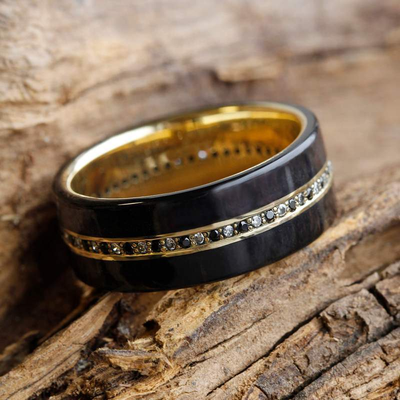 Yellow Gold Wedding Band, Eternity Wedding Ring with Black and White Diamonds