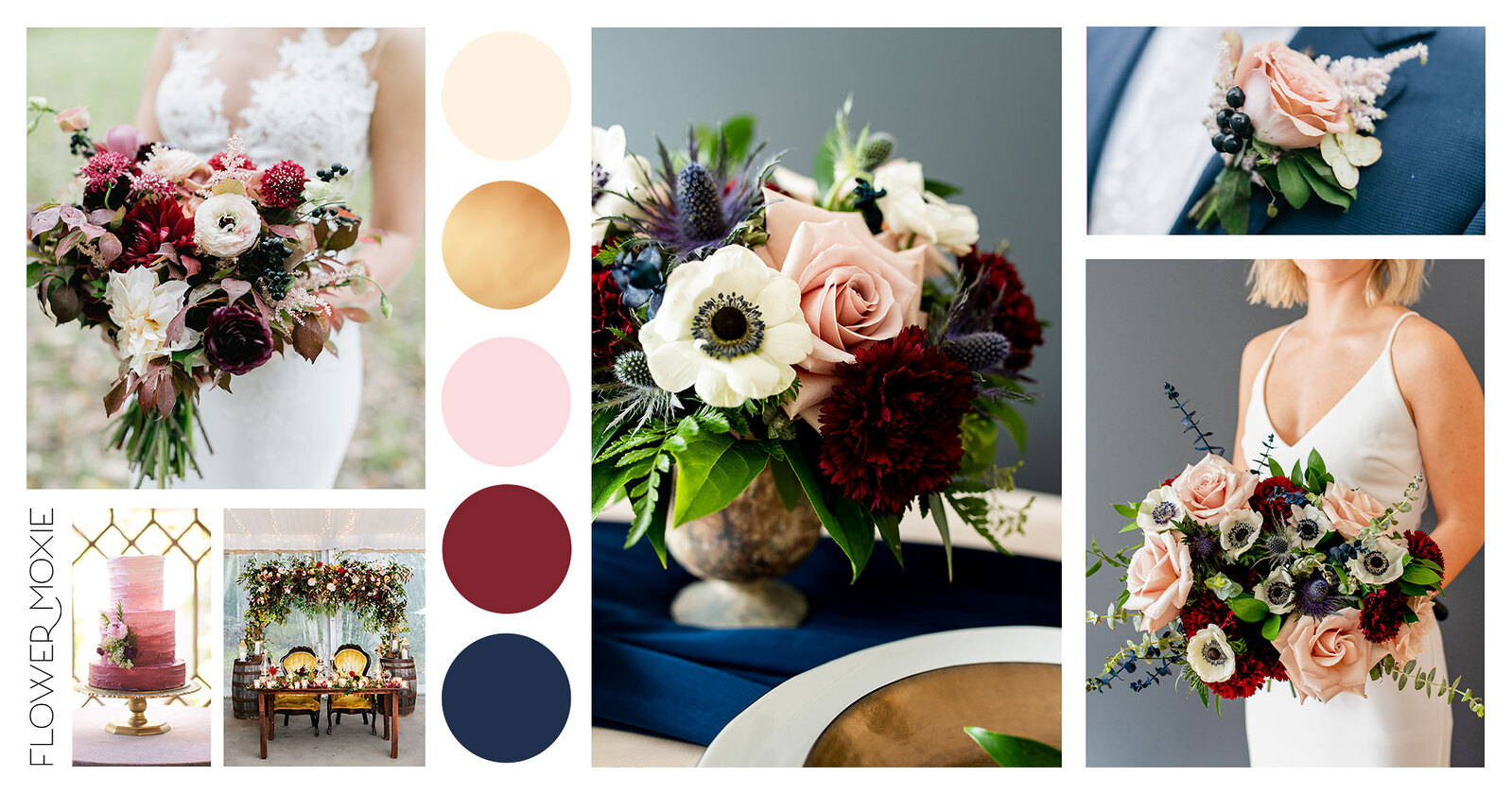 Navy And Wine Flower Packages Pinterest Style Mood Boards Flower Moxie