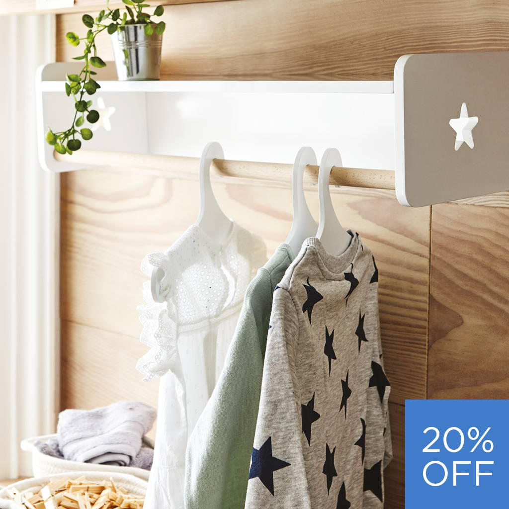 wood and white clothes rail and shelf with star detail
