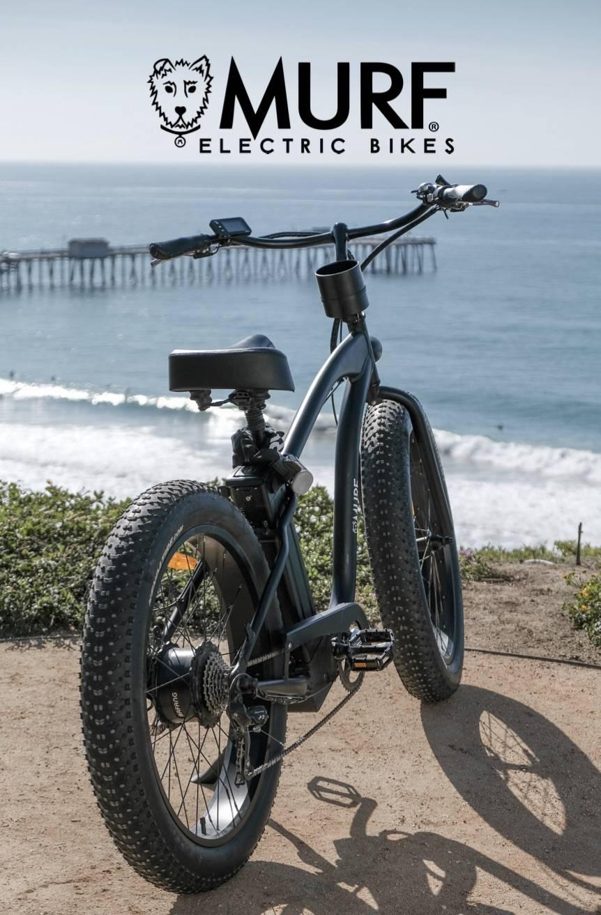 Fat Tire Beach Cruiser E-Bike   Beach Cruiser Electric Bike in Black