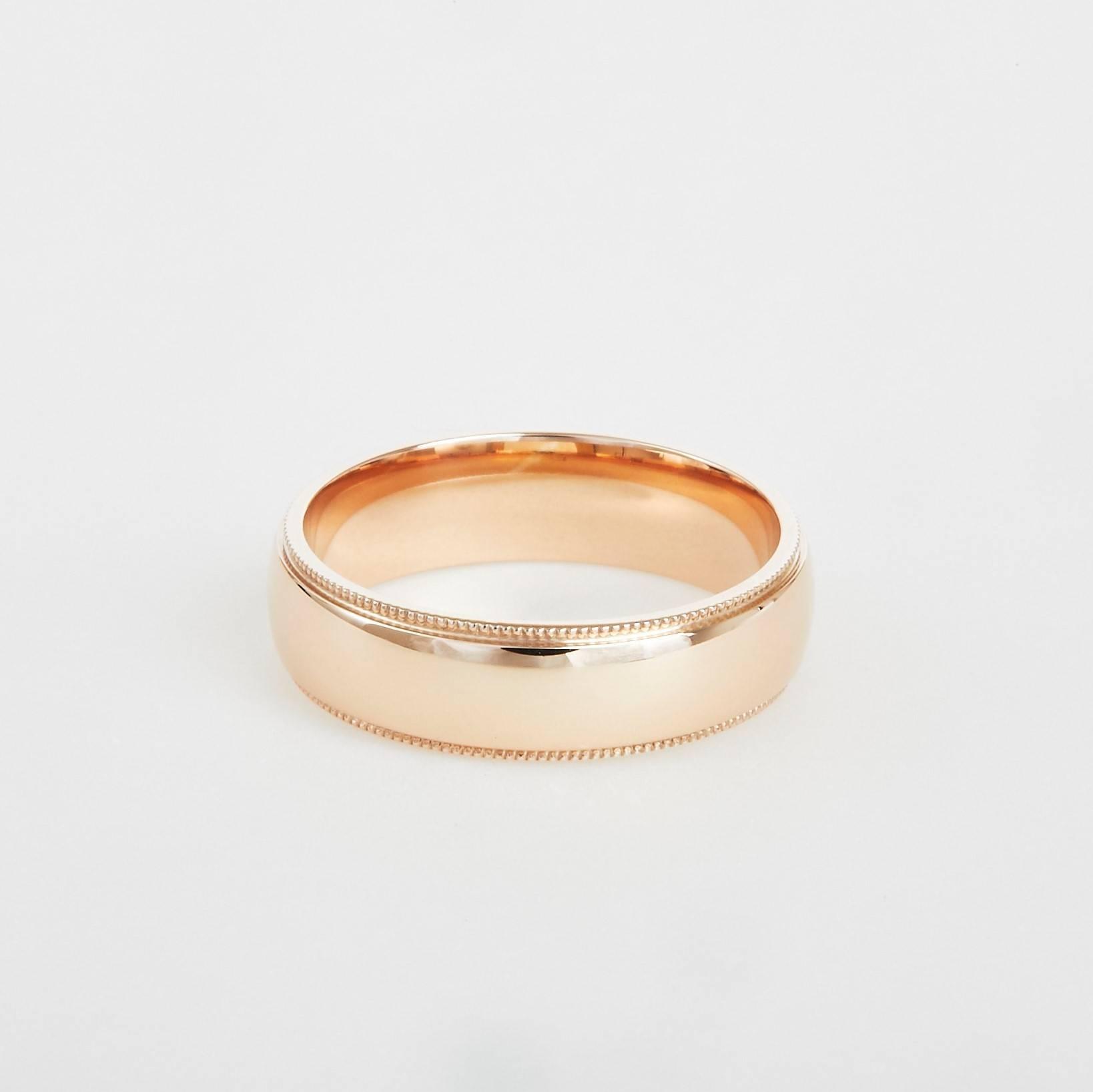 milgrain rose gold wedding band