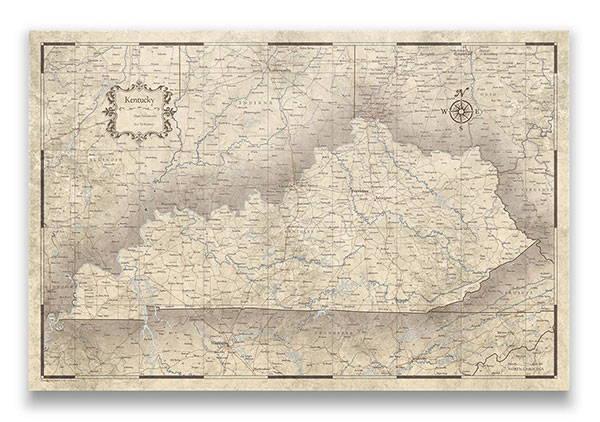 Kentucky Push pin travel map rustic vintage