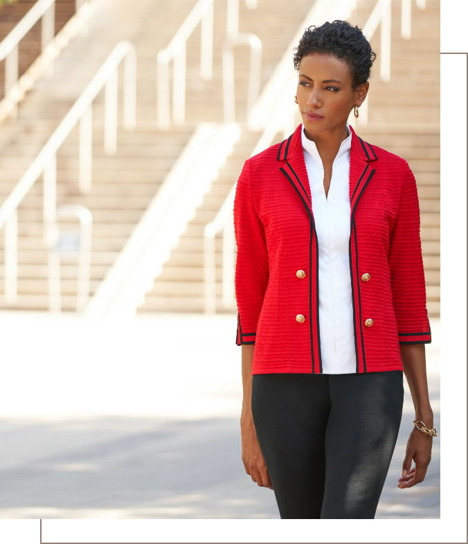 Contrast Trim Textured Knit Jacket in the color Dusk Red