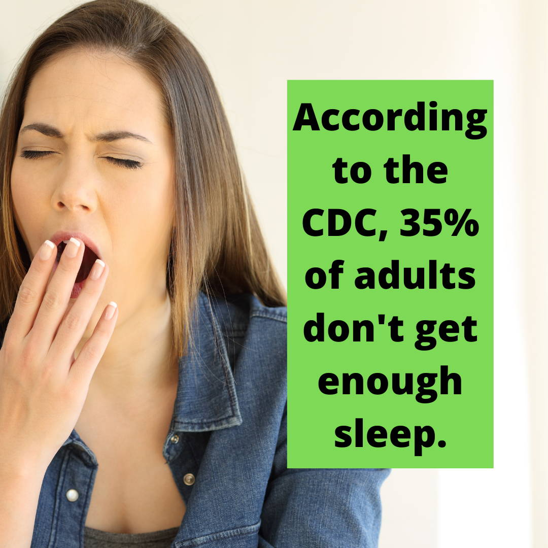 Infographic of a woman yawning. It says,