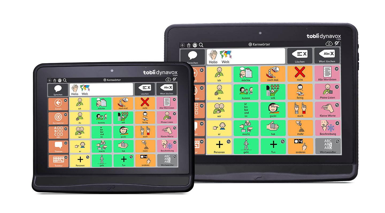 """Die augengesteuerten UK-Geräte I-12+ und I-15+ von Tobii Dynavox mit den Kommunikations-App """"Snap + Core First"""""""