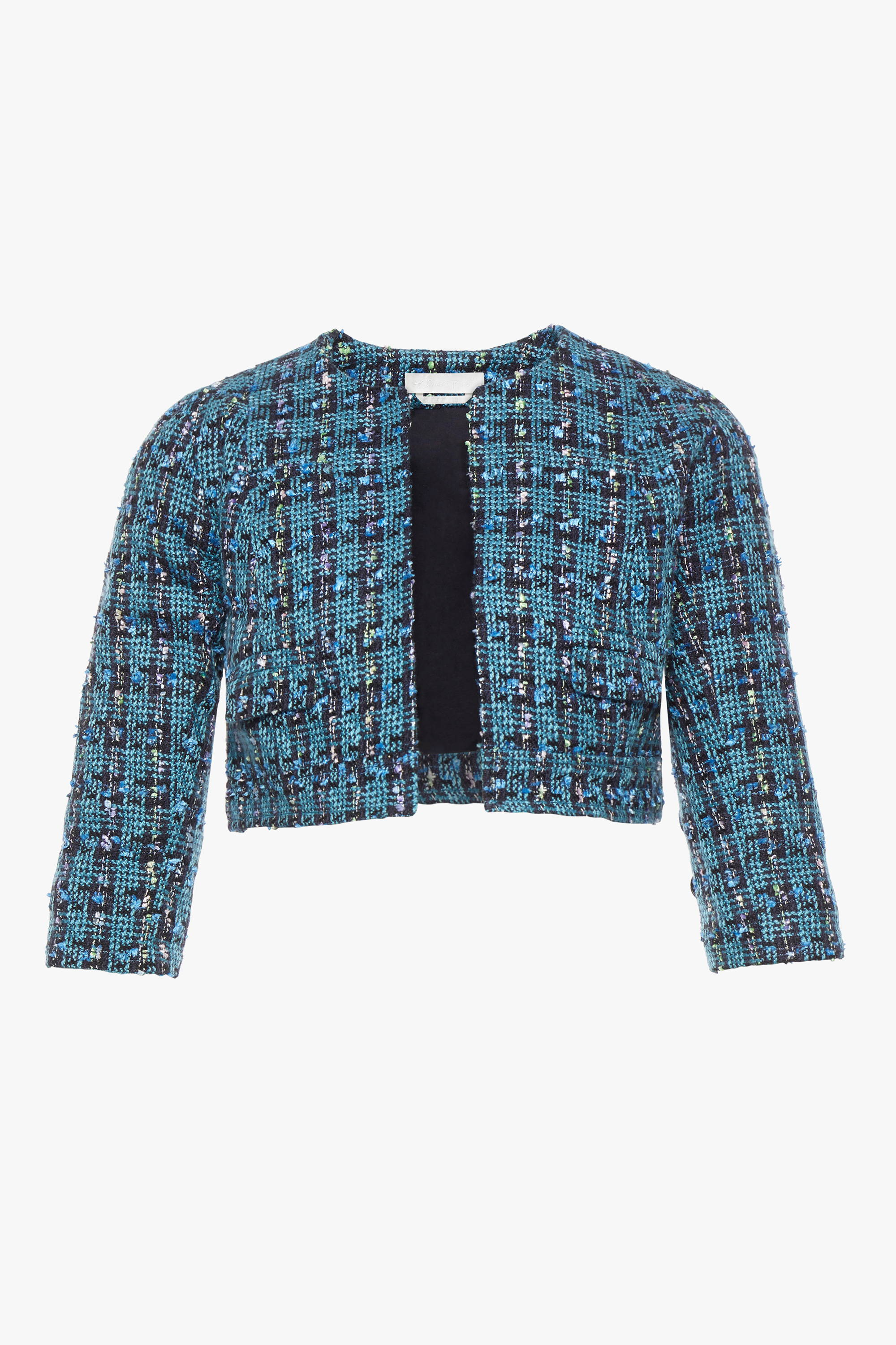 The maternity friendly Beverly jacket in blue purple boucle