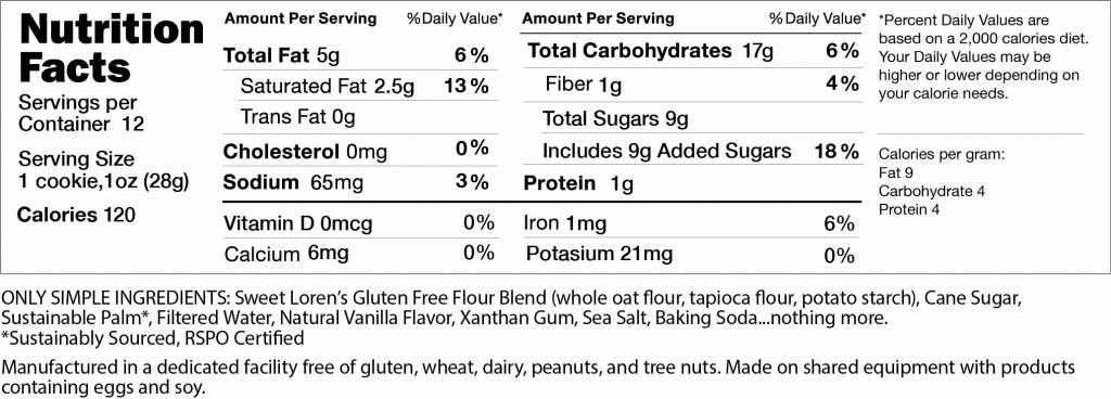 Gluten Free Sugar Cookie Nutrition Facts