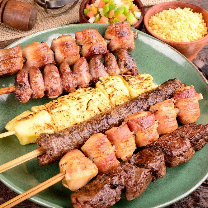 kebabs on a skewer with chicken and meat