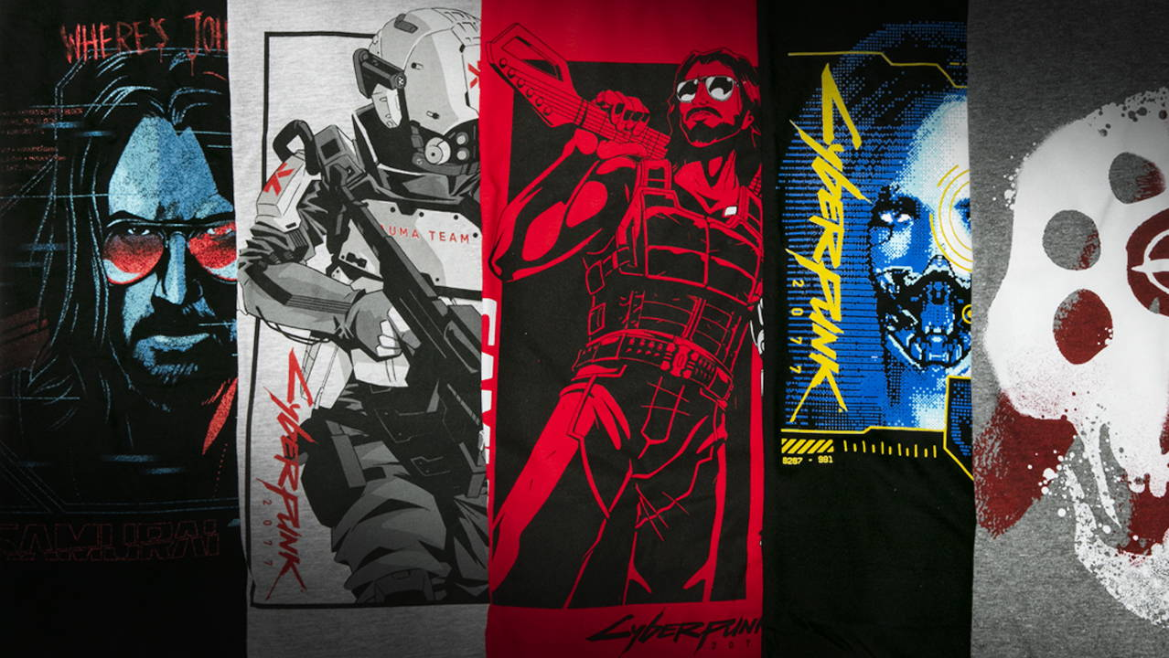 A collection of Cyberpunk 2077 shirts