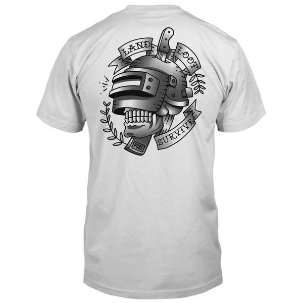 Gray mens shirt with tattoo graphic.