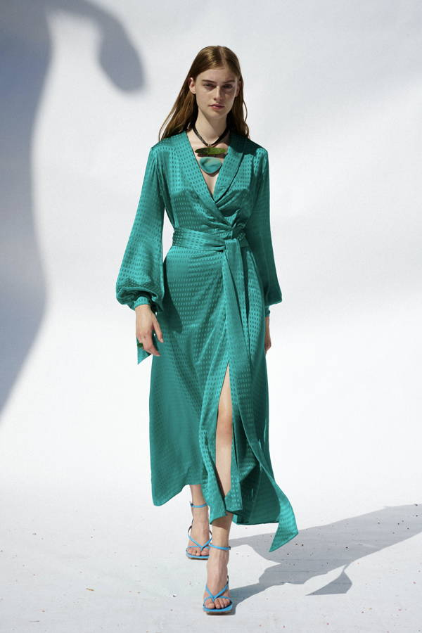 Galvan London Long Sleeves Silk Green Midi Dress