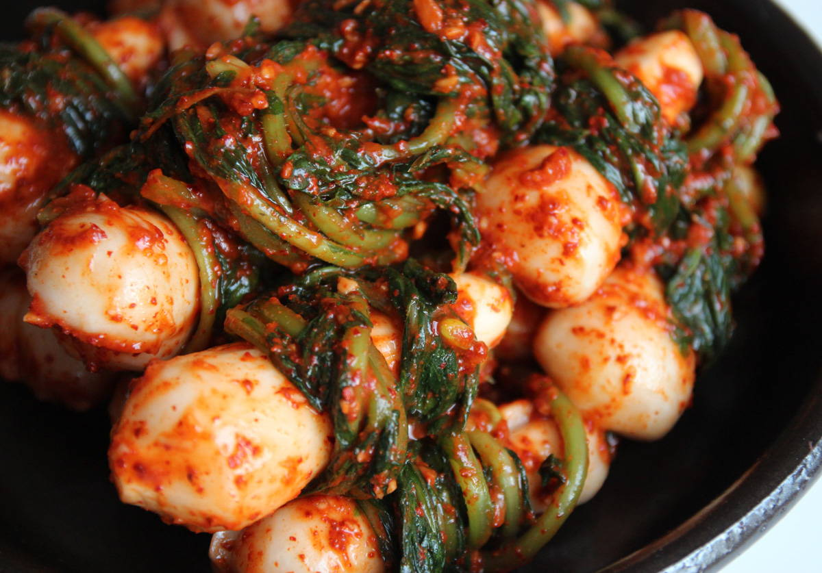 Another type of radish kimchi - whole radish with greens attached
