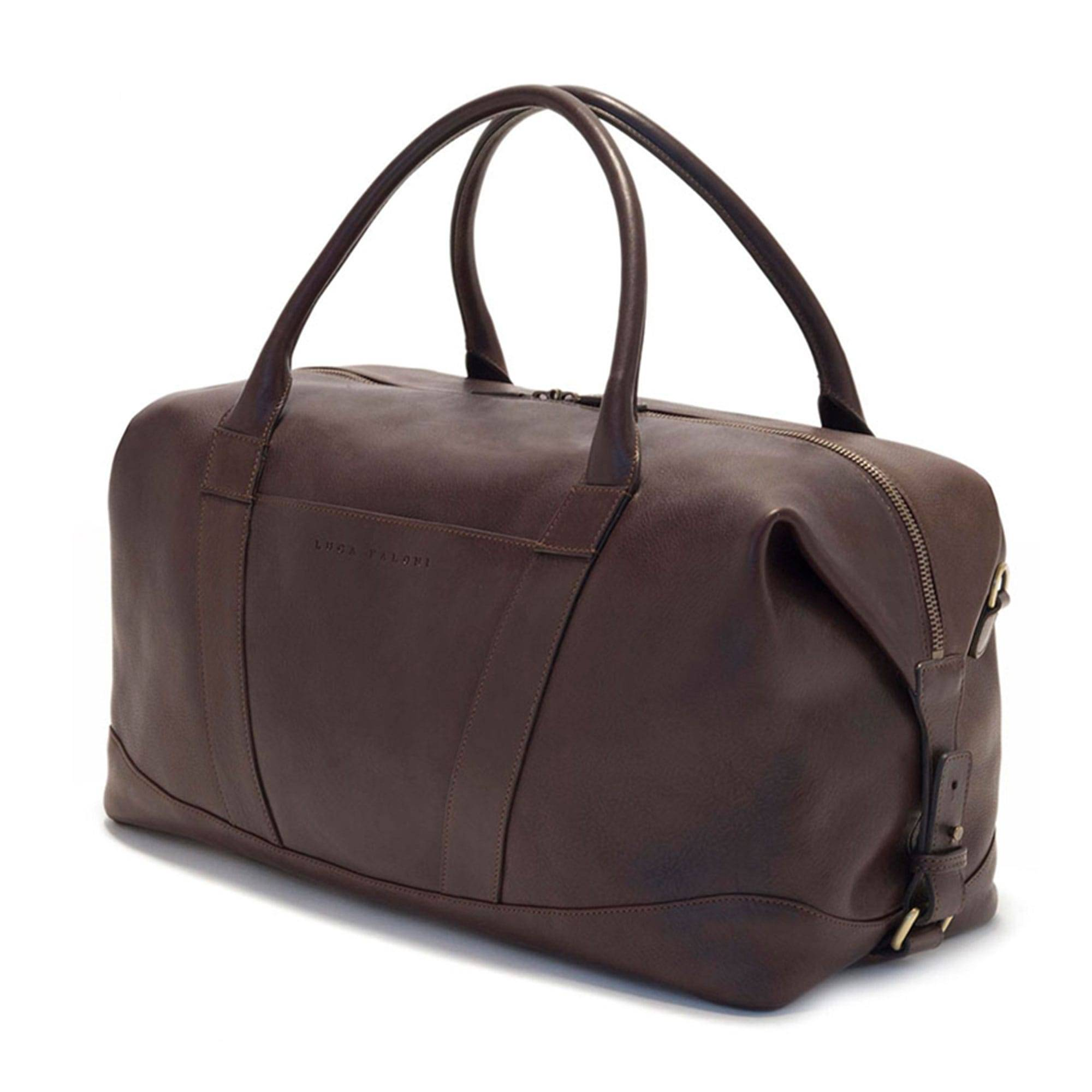 Luca Faloni Chocolate Brown Weekender leather travel bag made in Italy