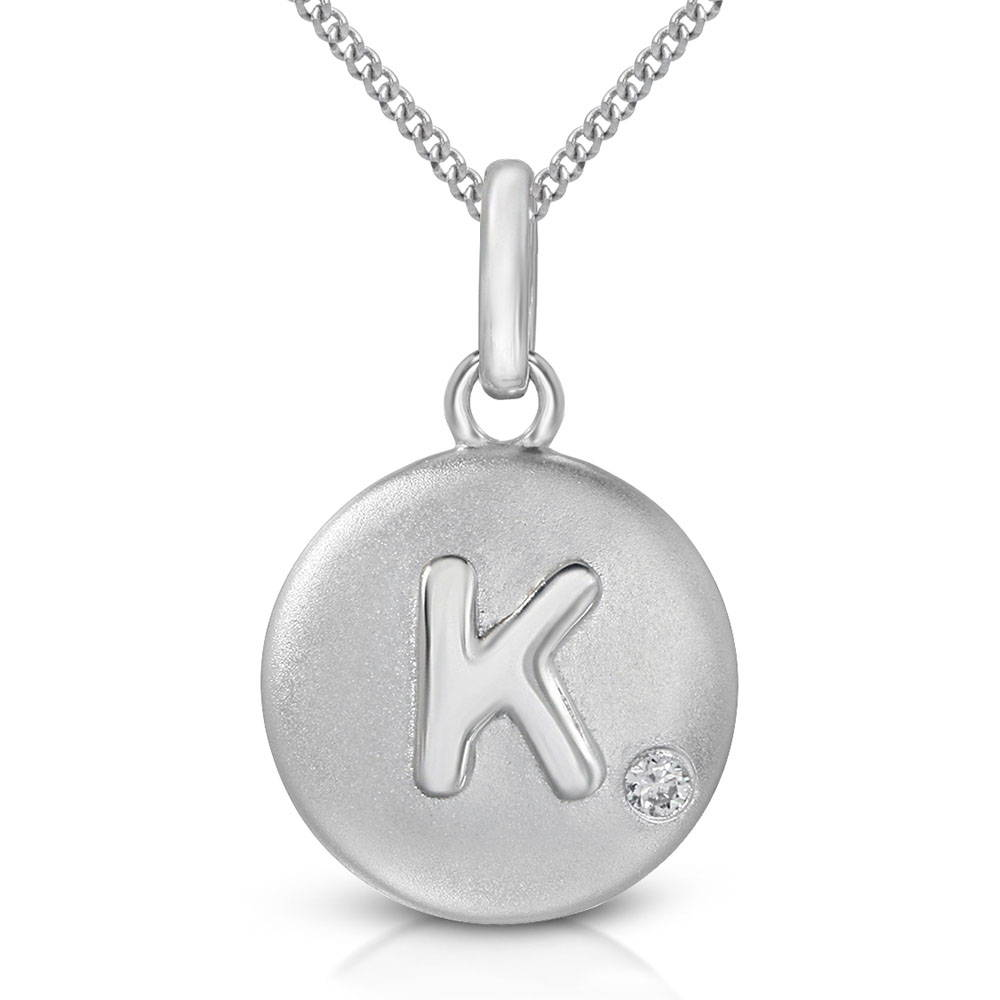 Pure at Birth letter K pendant with curb link necklace