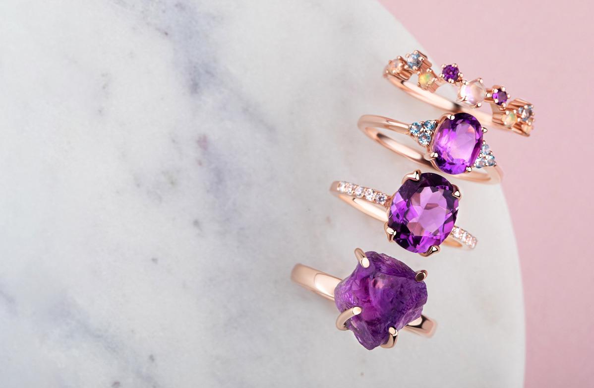 Semiprecious Amethyst Gemstone Ring Gold Amethyst Stackable Ring Raw Gemstone Ring Size Rough Gemstone Ring Raw Amethyst Stackable Ring