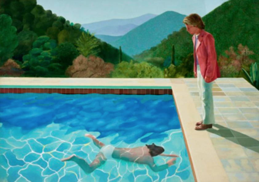 Two men in a swimming pool by David Hockney