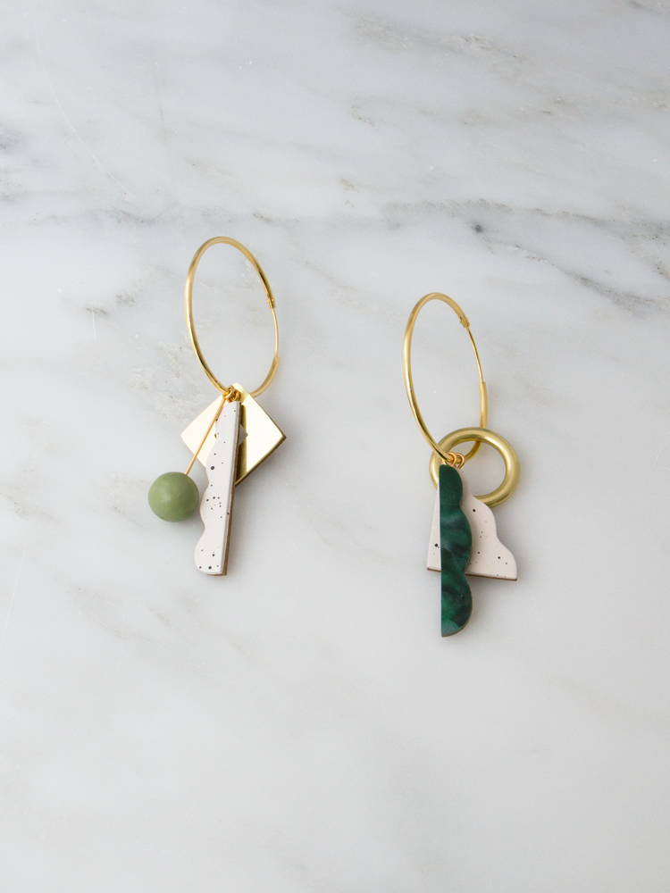 Wolf & Moon | Collage Charm Hoops in Green