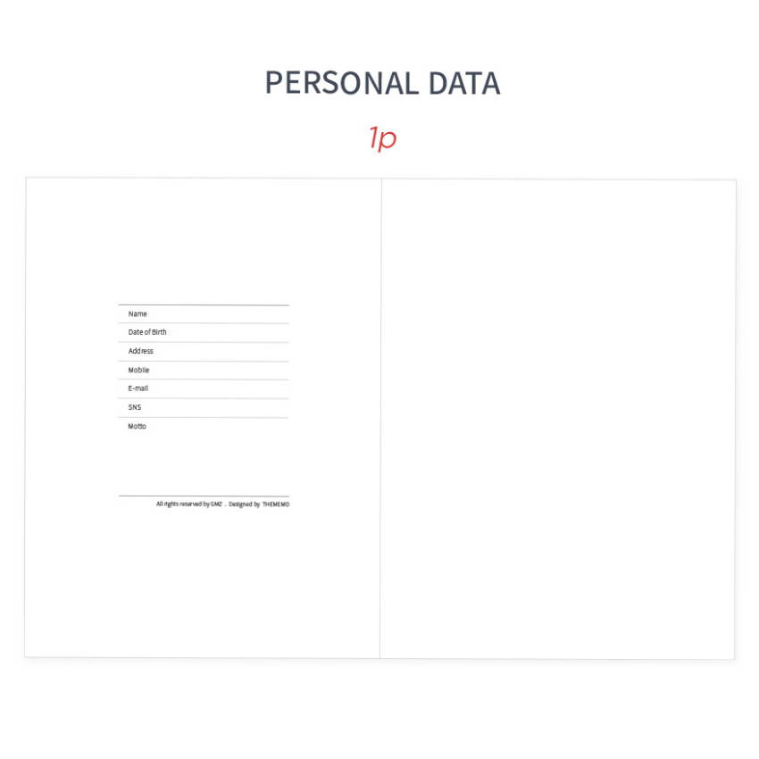 Personal data - GMZ 2020 The memo dated weekly diary planner