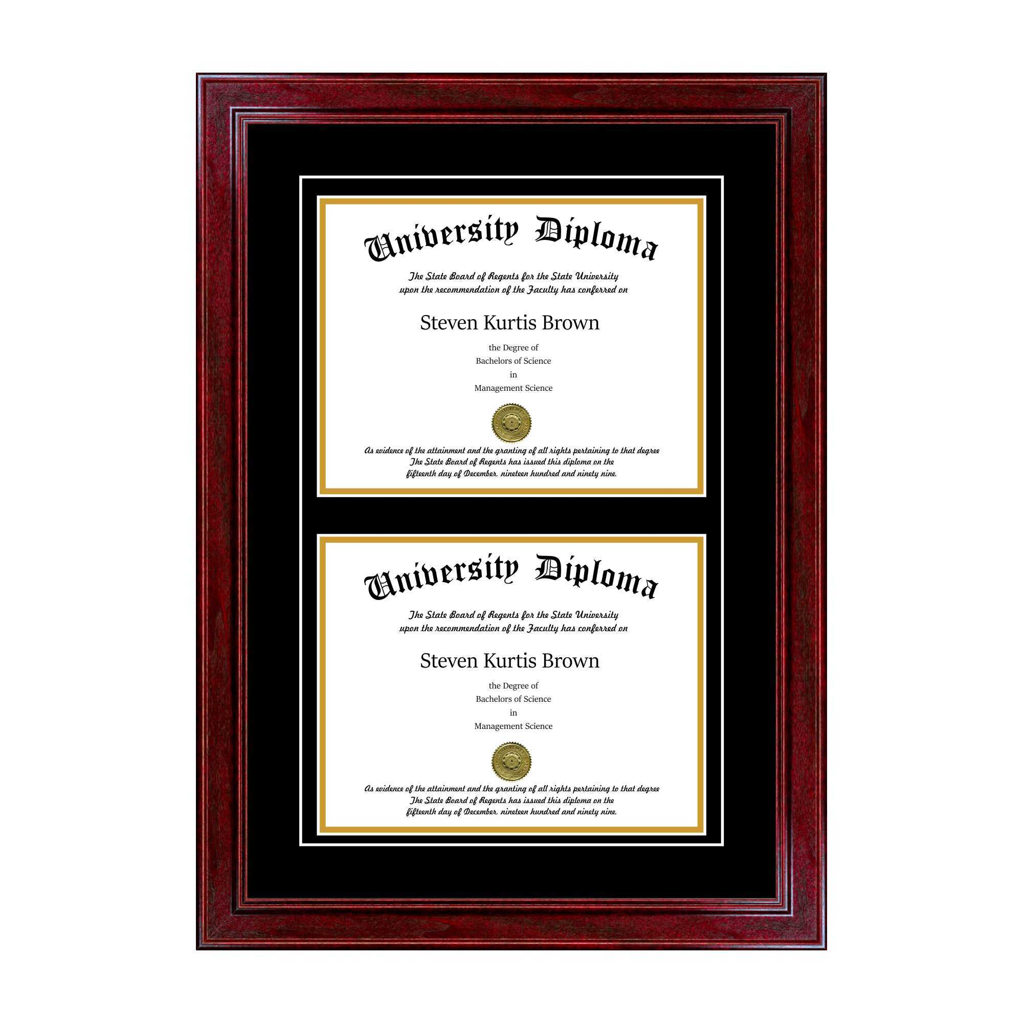 Double Diploma Frame Perfect Cases Inc