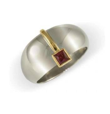 18ct dome ring with a ruby jens hansen