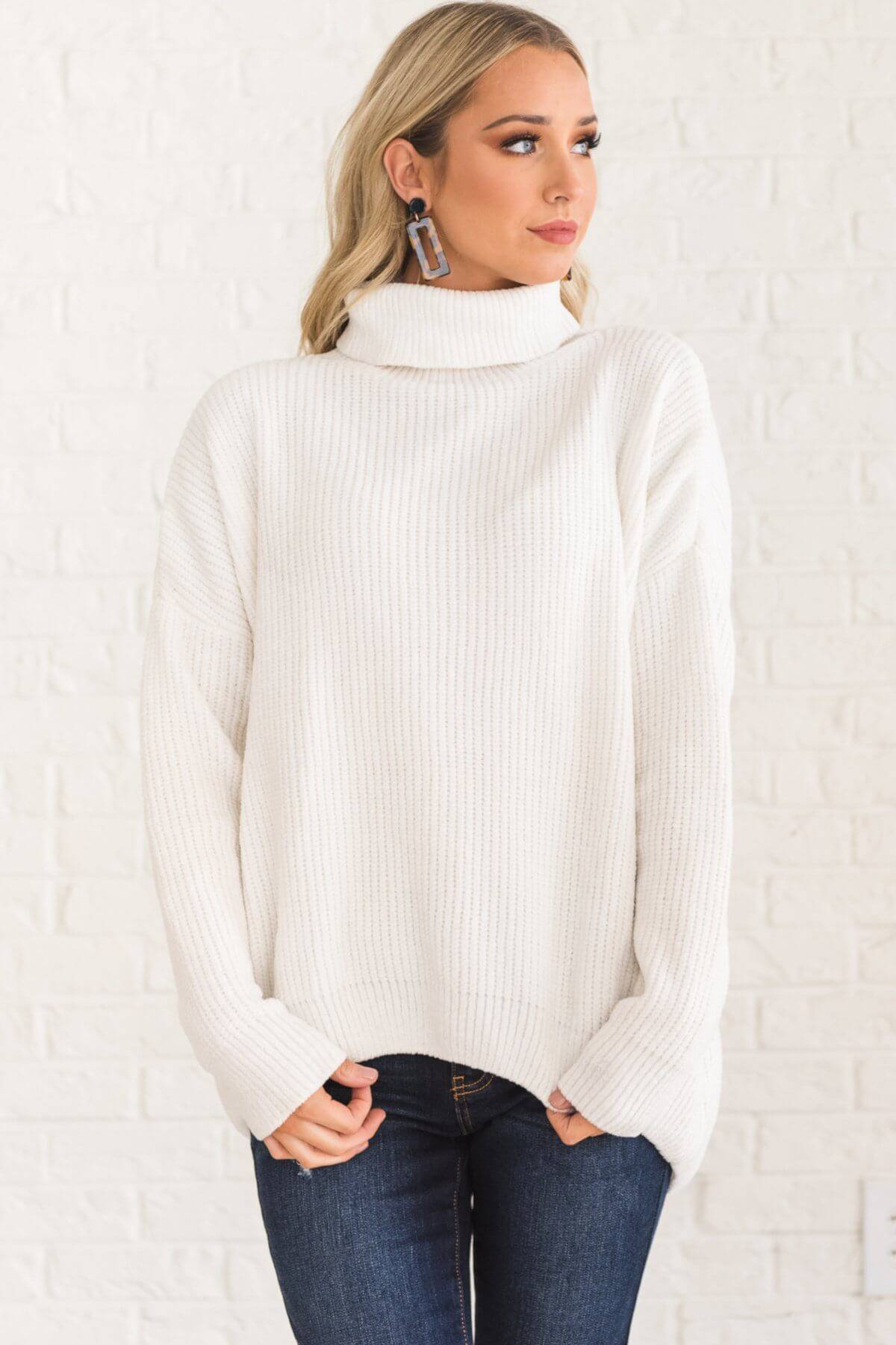 White Soft Knit Chenille Cowl Neck Turtleneck Sweaters