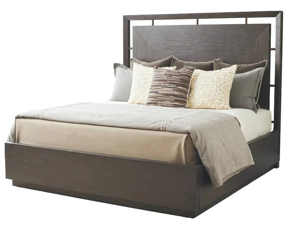park city bed in dark brown finish with bed linens