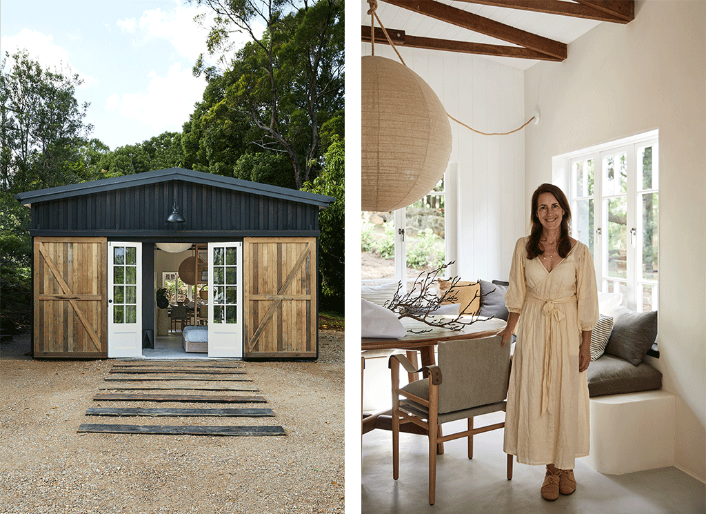 2 Images. 1) The exterior of The Slow Studio. 2) Natalie Walton in the living area.
