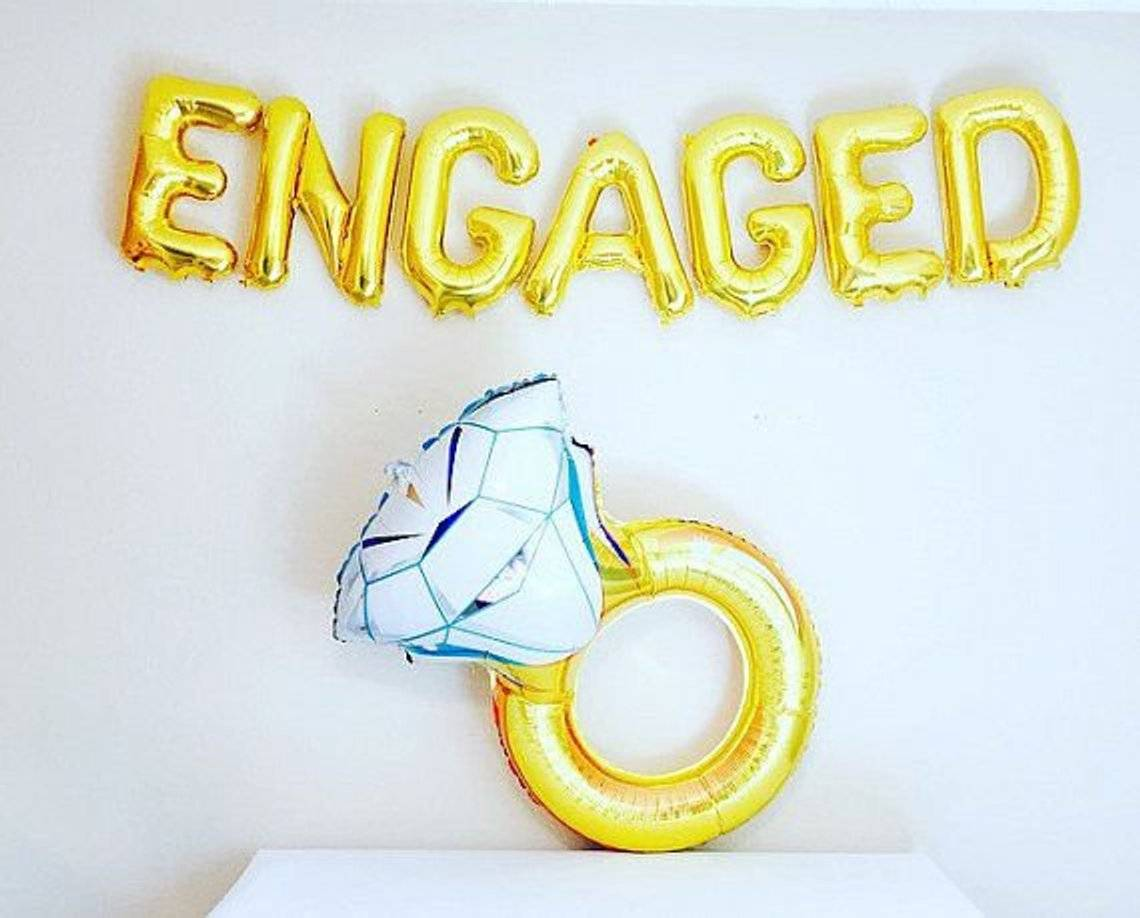 "Engagement Party Decorations | ""Engaged"" with Diamond Ring Set 