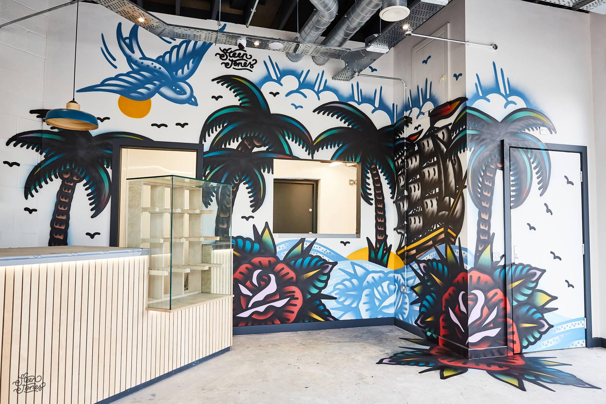 Steen Jones tattoo street artist Good Karma Coffee House UK mural