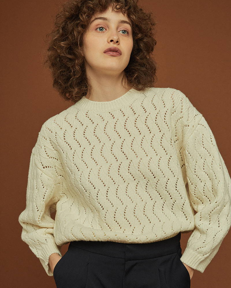 Styled photography Garoloup Knitted Jumper in Ecru from Soeur