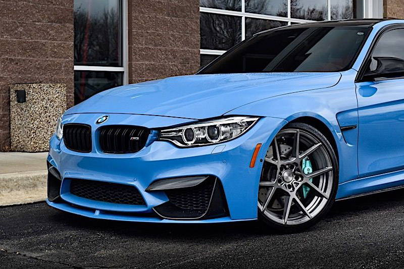 Wheel on Blue BMW