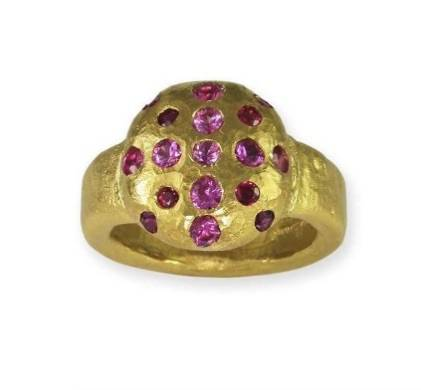 22ct gold pink sapphires and rubies jens hansen jewellers