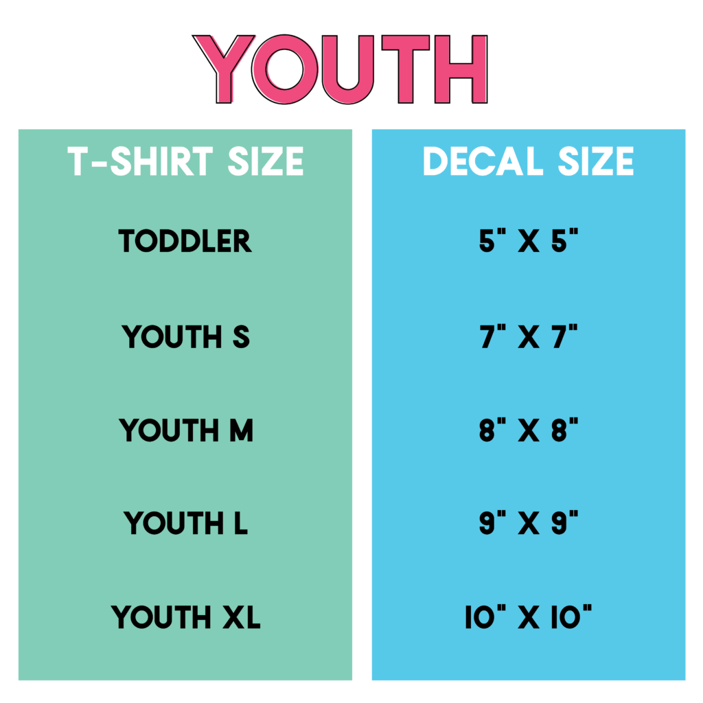 image about Printable Embroidery Placement Guide named Rookies Information: Decal Dimensions Ideas for T-Shirts, Totes and