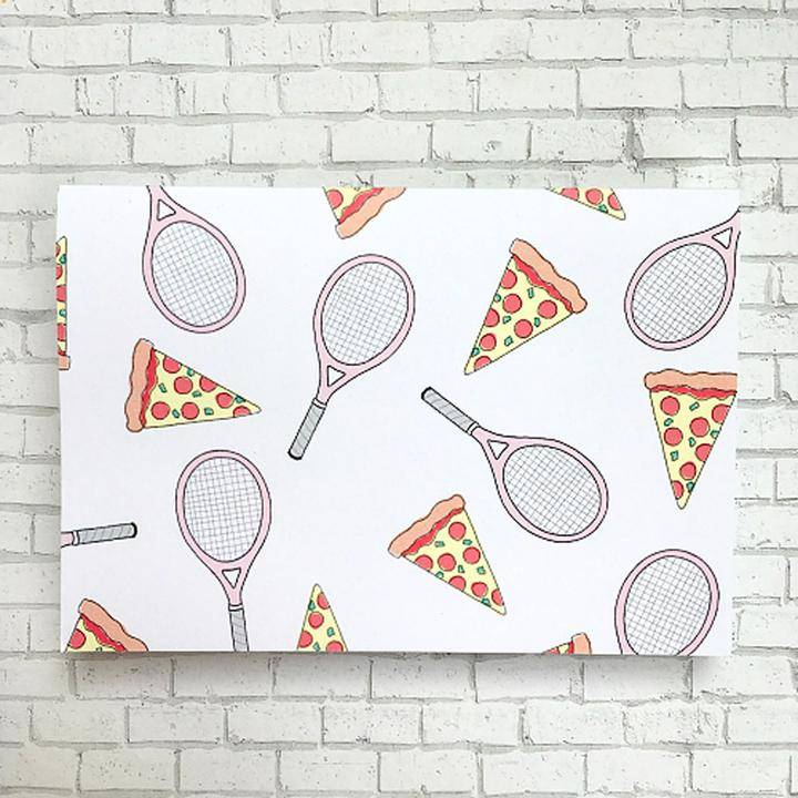 Racquet Smash Boxed Note Card Set Racquets and Pizza