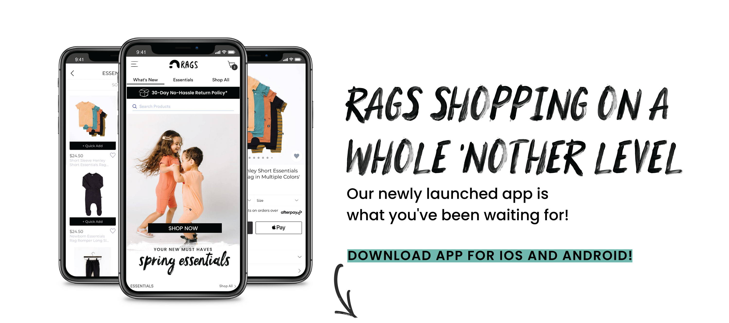 RAGS Mobile App - Easily shop for kid, baby, and newborn clothes from your mobile device!