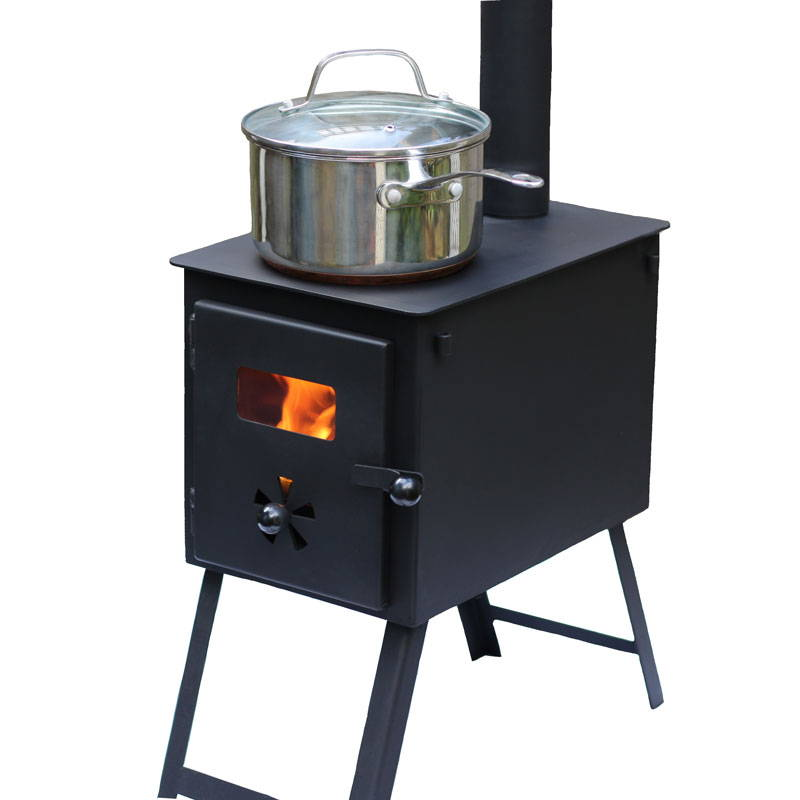 Glawning GLOW wood-burning stove with pan on top