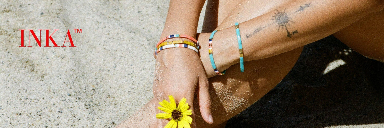 bracelet INKA energie bambou feu eau azur