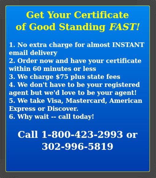 certificate of good standing delaware