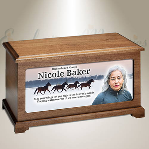 Wild Horses 3D Artisan Portrait Cremation Urn