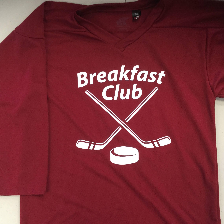 Custom Screen Printed Hockey Jerseys: Breakfast Club (Kobe 5400 Maroon)