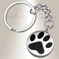 Loved Pawprint Stainless Steel Cremation Ash Keychain