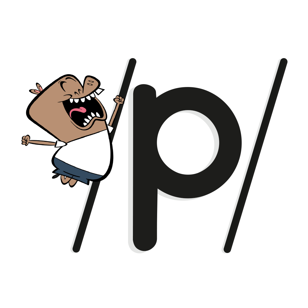 Illustrated character next to the phoneme /p/