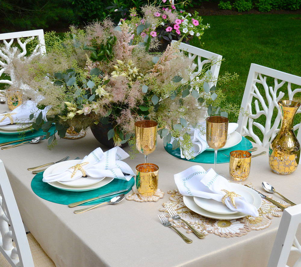 HERRINGBONE NAPKIN IN WHITE, SEAFOAM & GOLD