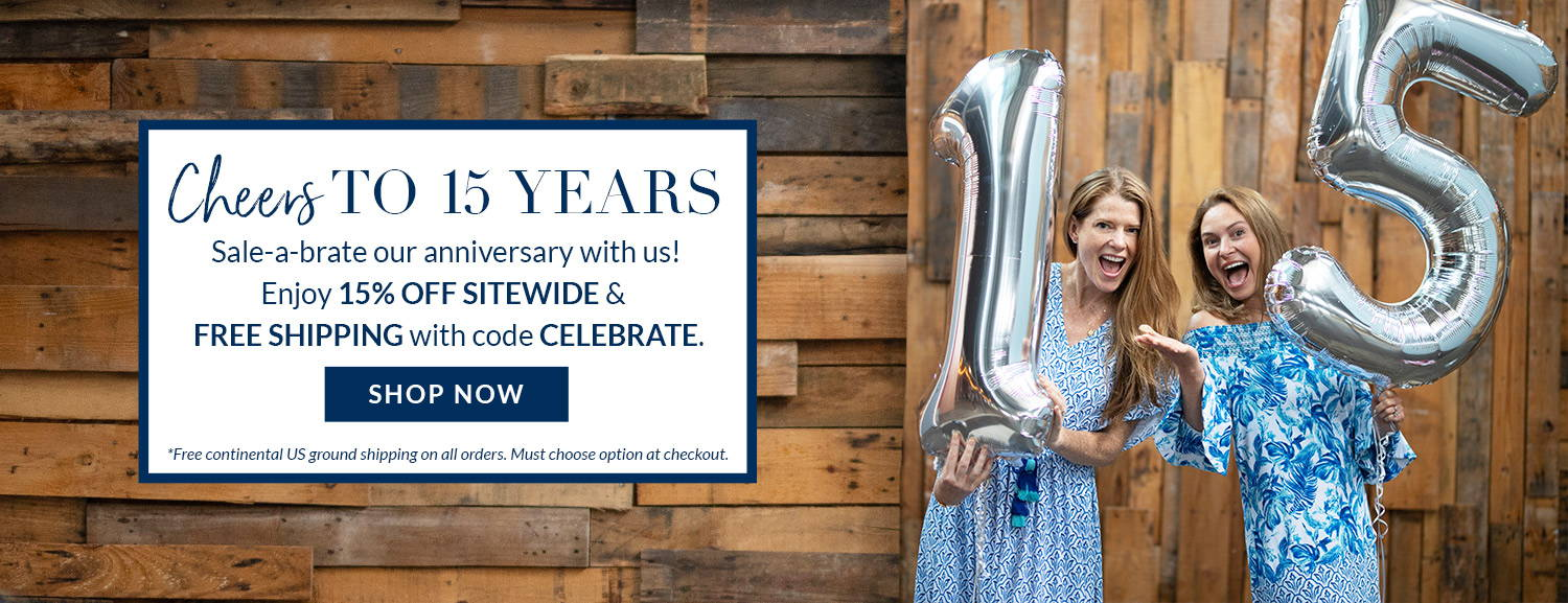 Cheers to 15 years. Sale-a-brate our anniversary wtih us. Enjoy 15% off sitewide & free shipping with code CELEBRATE. Shop now. Founder Melissa wearing West Indies Maxi Dress & founder Alyssa wearing Navy Tee Dress.