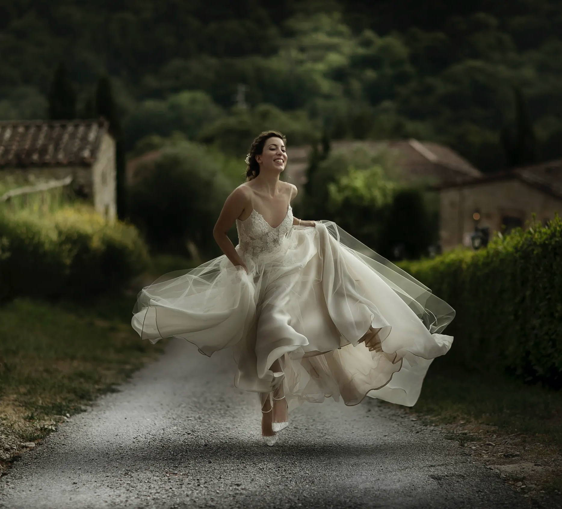 Camilla Gabrieli wedding in Tuscany white dress hilltop castle