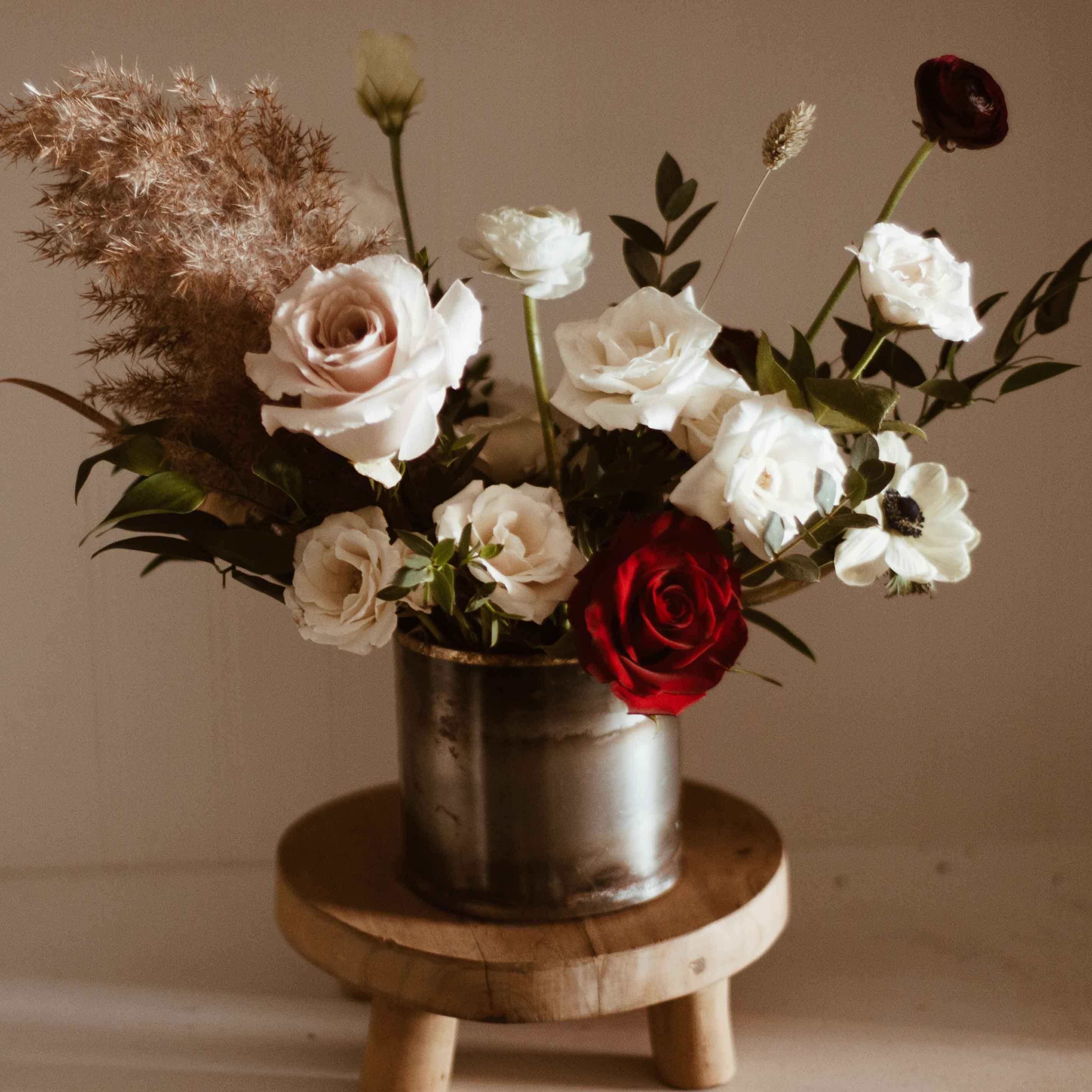 Romantic moody modern vase arrangement for Valentine's Day