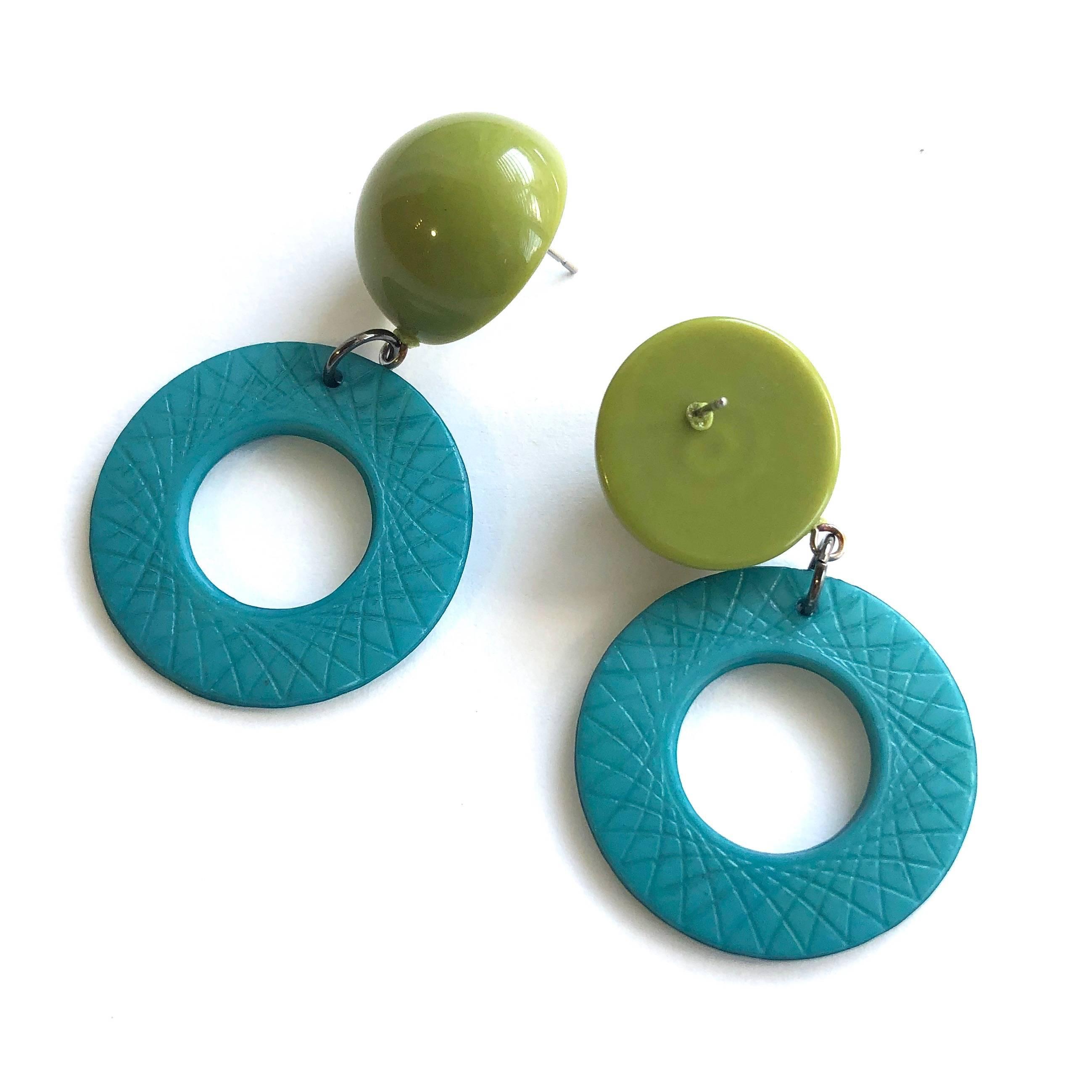teal olive earrings